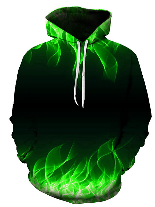 Men's Plus Size Daily Hoodie 3D Hooded Casual Basic Hoodies Sweatshirts  Green