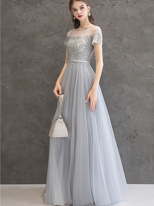 A-Line Elegant Sparkle & Shine Prom Formal Evening Dress Jewel Neck Short Sleeve Floor Length Tulle Cotton with Crystals Beading Sequin 2020
