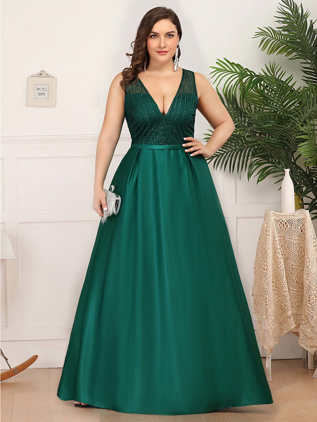 A-Line Elegant Plus Size Prom Formal Evening Dress Plunging Neck Sleeveless Floor Length Satin Tulle with 2020