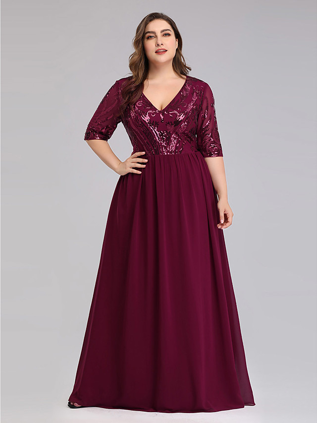 A-Line Elegant Plus Size Prom Formal Evening Dress Plunging Neck Half Sleeve Floor Length Chiffon Lace with 2020