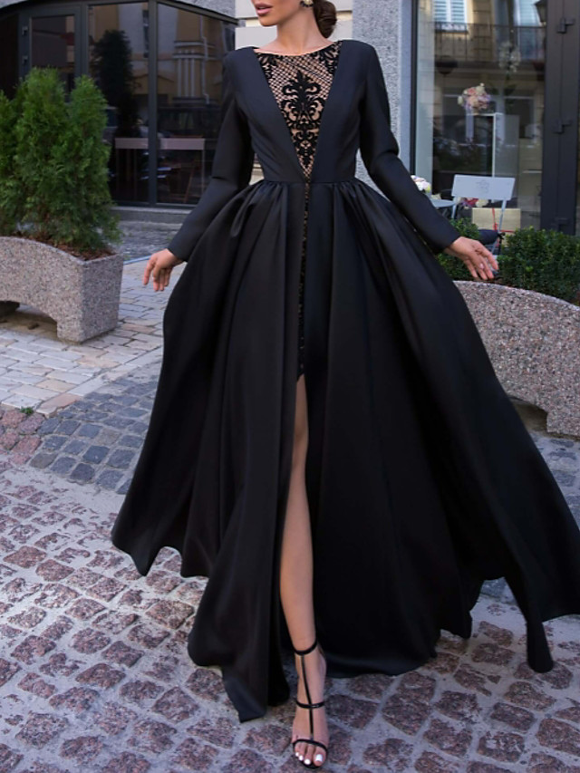 Ball Gown Luxurious Black Engagement Formal Evening Dress Illusion Neck Long Sleeve Floor Length Satin with Split Overskirt Lace Insert 2020