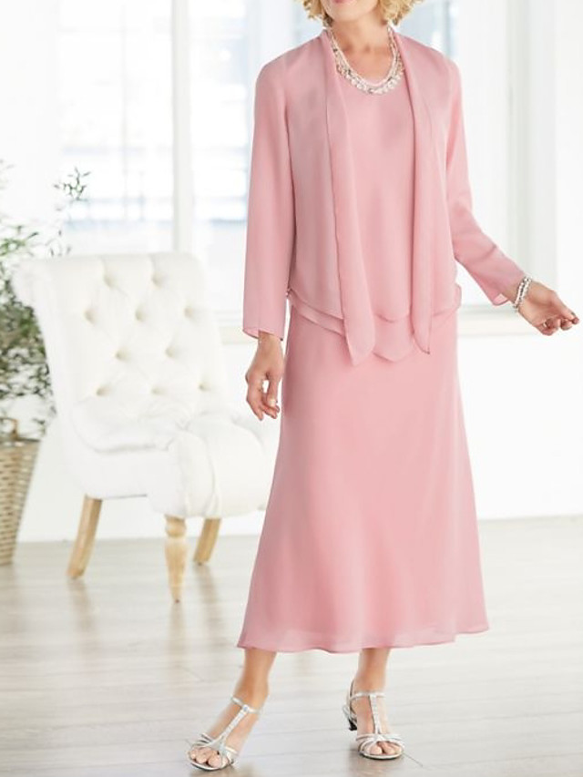 A-Line Mother of the Bride Dress Elegant Plus Size Jewel Neck Ankle Length Chiffon Long Sleeve with Pleats 2020 Mother of the groom dresses