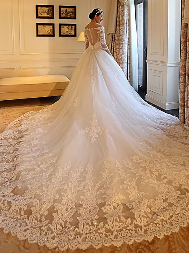 Ball Gown Off Shoulder Cathedral Train Lace / Tulle / Lace Over Satin 3/4 Length Sleeve Formal Illusion Sleeve Wedding Dresses with Appliques 2020