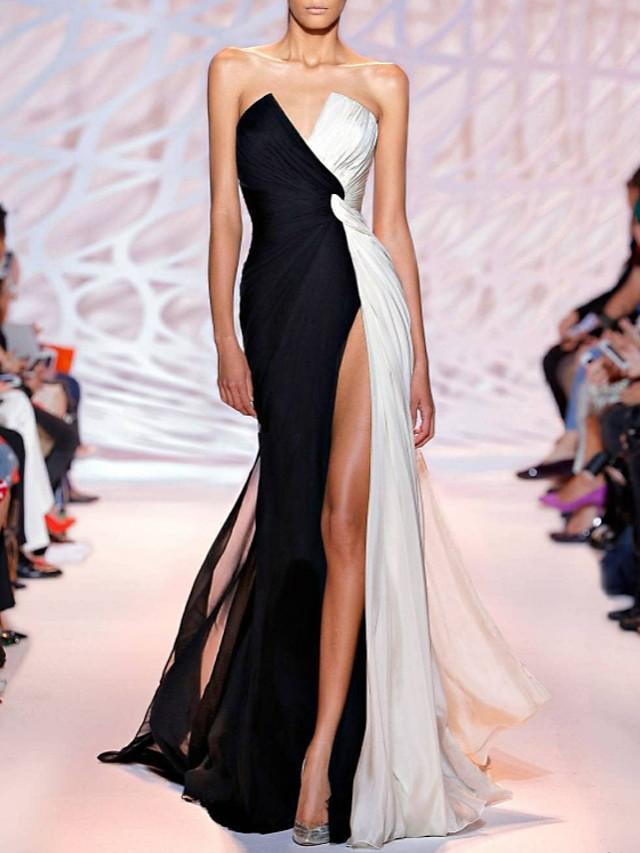Sheath / Column White Black Party Wear Formal Evening Dress Strapless Sleeveless Sweep / Brush Train Polyester with Split 2020