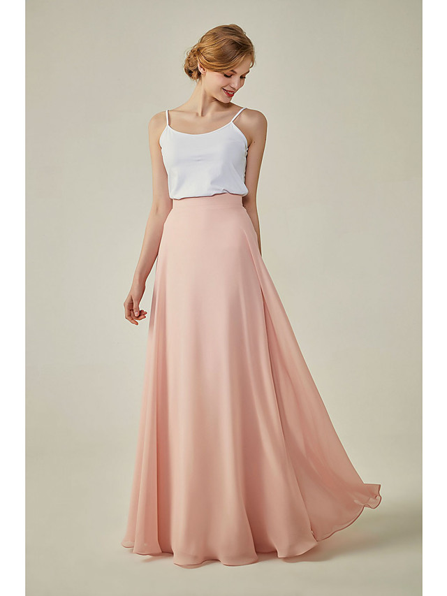 A-Line Spaghetti Strap Floor Length Spandex / Chiffon Bridesmaid Dress with / Two Piece
