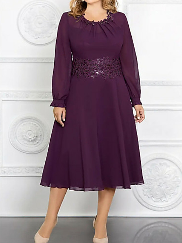 A-Line Mother of the Bride Dress Plus Size Jewel Neck Tea Length Chiffon Long Sleeve with Appliques 2020