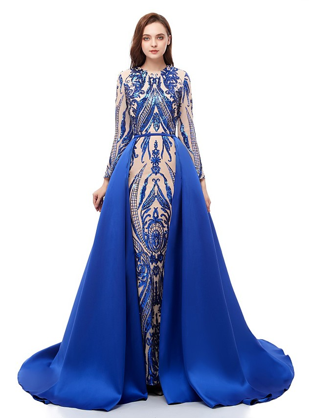 Ball Gown Sparkle Blue Prom Formal Evening Dress Jewel Neck Long Sleeve Court Train Sequined with Overskirt Pattern / Print Appliques 2020
