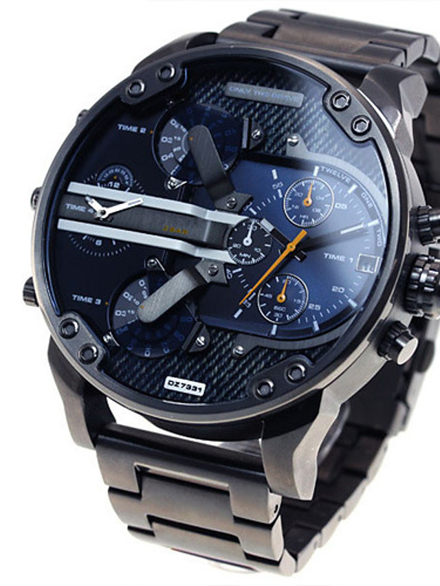 Men's Military Watch Wrist Watch Steel Band Watches Oversized Black Calendar / date / day Dual Time Zones Cool Analog Luxury Classic Vintage Casual - Black Blue Grey Two Years Battery Life