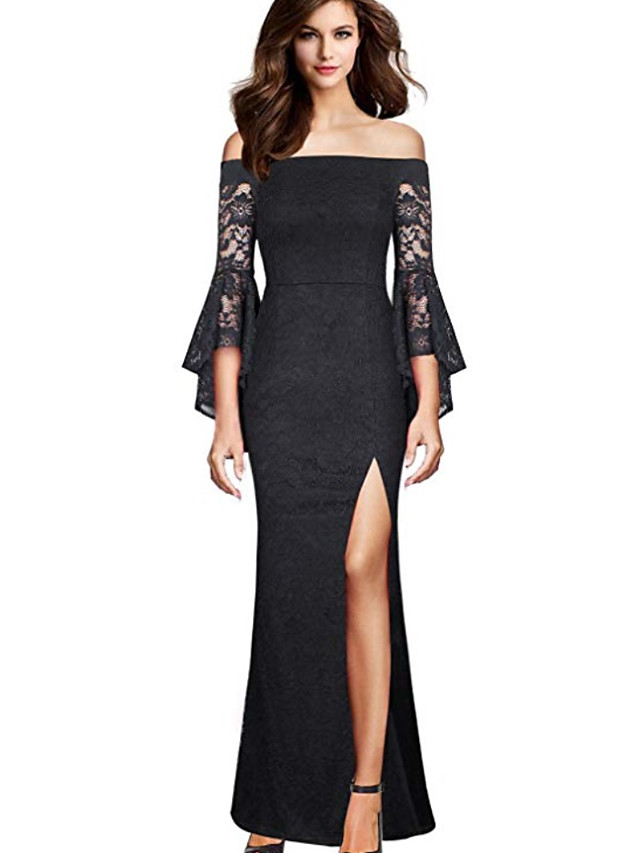Mermaid / Trumpet Off Shoulder Floor Length Lace / Jersey Bridesmaid Dress with Split Front