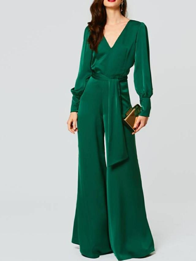 Jumpsuits Beautiful Back Green Wedding Guest Formal Evening Dress V Neck Long Sleeve Floor Length Chiffon with Sash / Ribbon 2020