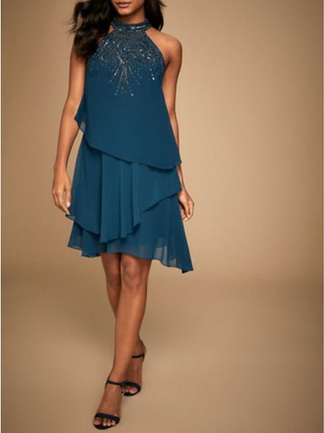 A-Line Elegant Hot Glittering Cocktail Party Formal Evening Dress Halter Neck Sleeveless Short / Mini Chiffon with Beading Tier 2020