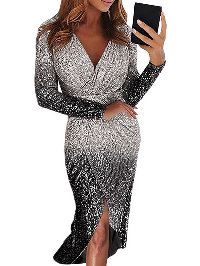 Women's Bodycon Short Mini Dress - Long Sleeve Color Gradient Color Block Sequins Ruched Deep V Deep V Sexy Cocktail Party New Year Going out Black Blue Purple Red Yellow Blushing Pink Gold Silver S