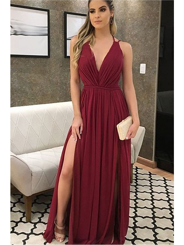 A-Line Plunging Neck Floor Length Chiffon Bridesmaid Dress with Pleats
