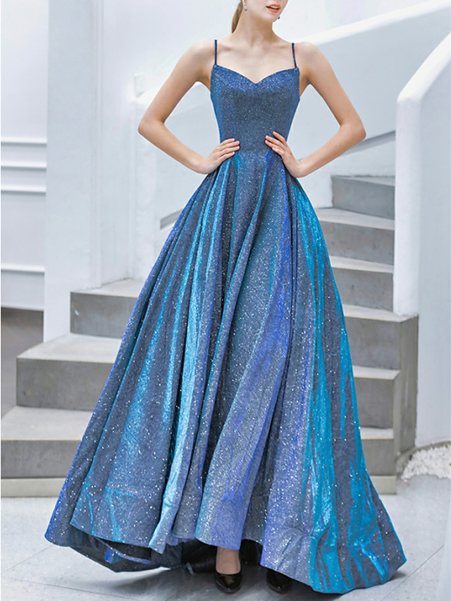 A-Line Sparkle Blue Prom Formal Evening Dress Spaghetti Strap Sleeveless Sweep / Brush Train Jersey with Pleats 2020