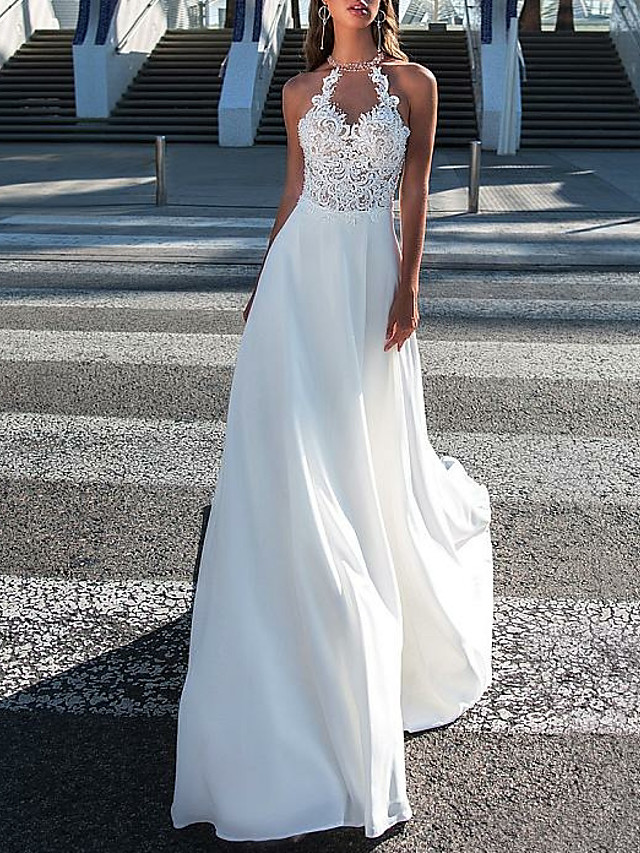 A-Line Wedding Dresses Halter Neck Sweep / Brush Train Chiffon Strapless Romantic Boho Illusion Detail Backless with Beading Appliques 2021