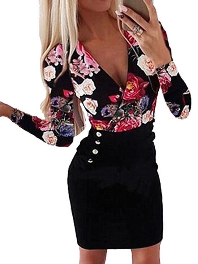Women's Plus Size Bodycon Short Mini Dress - Long Sleeve Floral Print Button Print Deep V White Black Blue Red S M L XL XXL XXXL