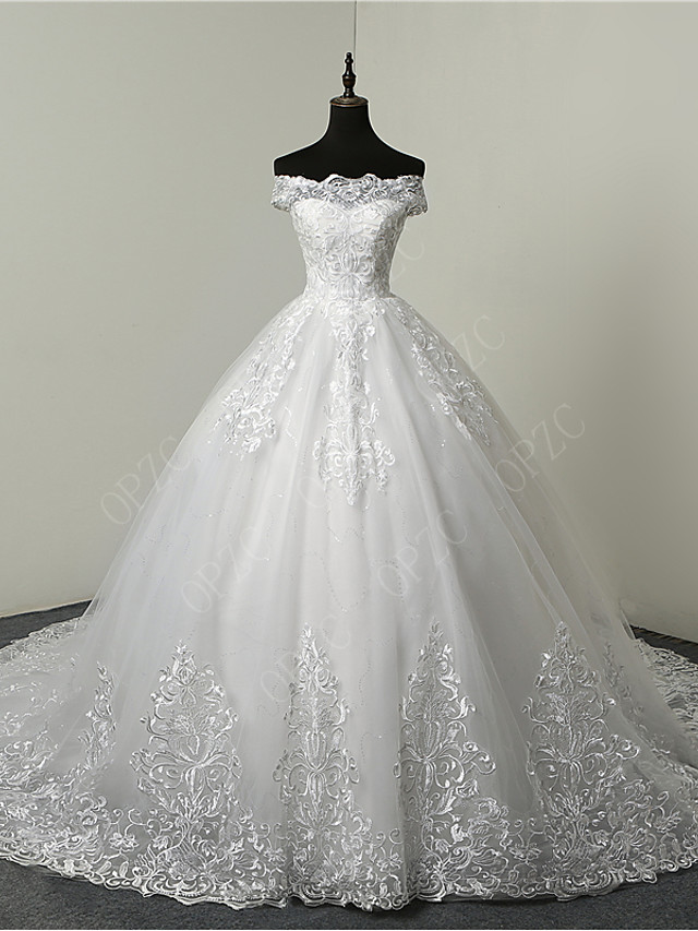 Ball Gown Wedding Dresses Off Shoulder Court Train Tulle Sequined Short Sleeve Glamorous Illusion Detail with Beading Appliques 2020