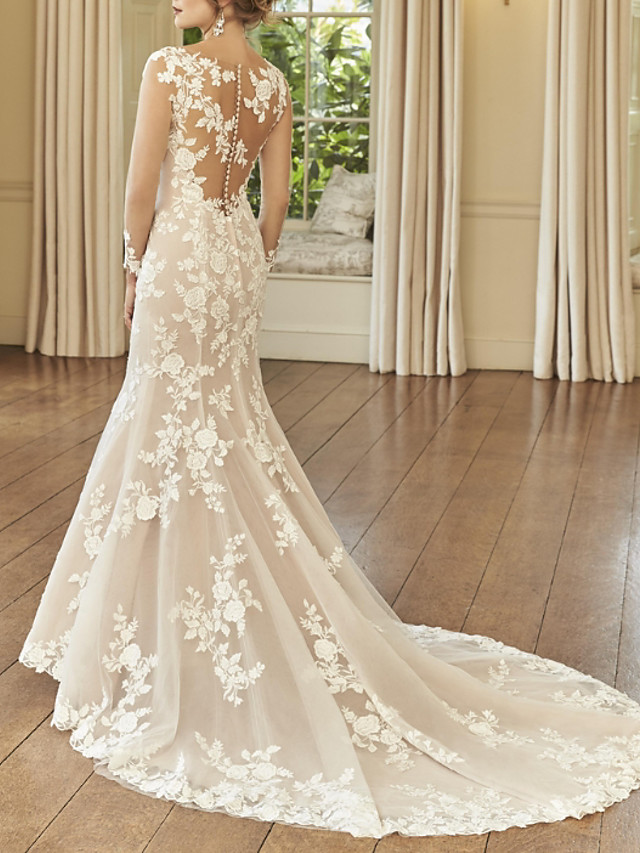 Mermaid / Trumpet Wedding Dresses Jewel Neck Court Train Lace Long Sleeve Romantic See-Through Illusion Sleeve with Embroidery 2021