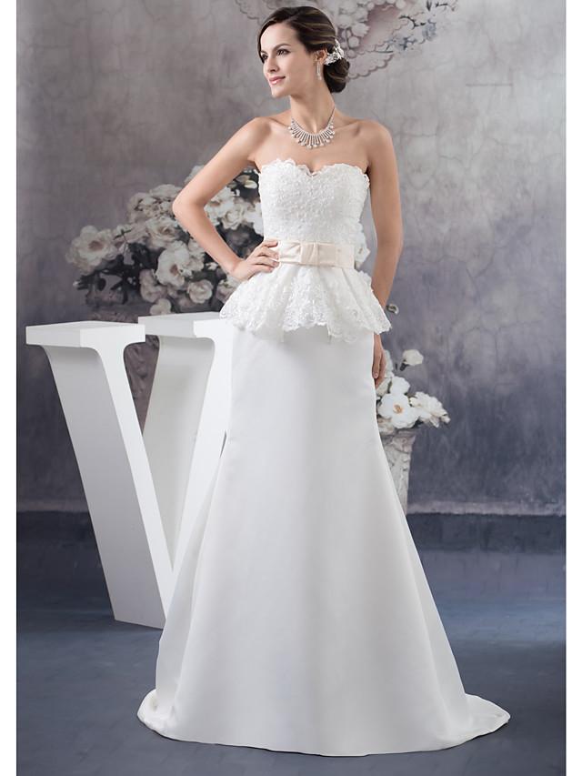 Sheath / Column Wedding Dresses Sweetheart Neckline Court Train Lace Satin Strapless with Sashes / Ribbons Beading Ruffles 2020