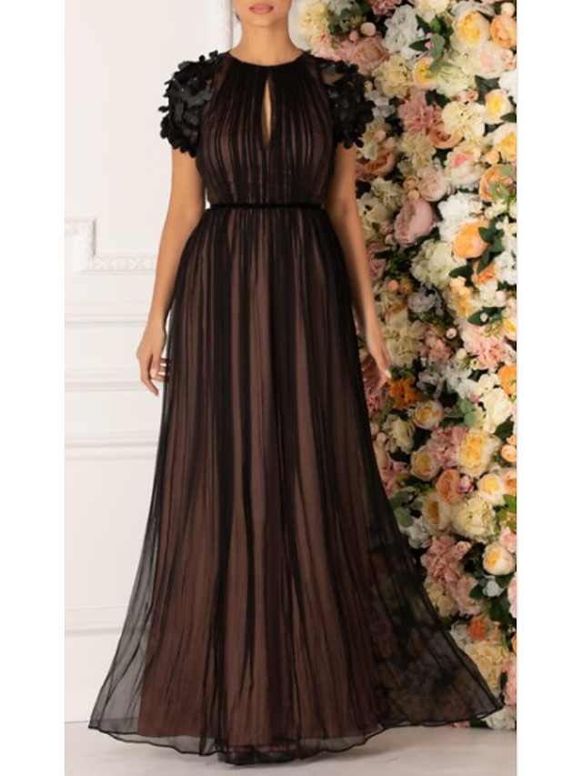 Ball Gown Empire Black Prom Formal Evening Dress Jewel Neck Short Sleeve Floor Length Chiffon with Pleats Appliques 2020
