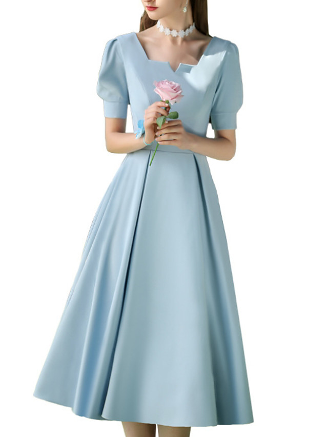 A-Line Square Neck Tea Length Polyester Bridesmaid Dress with Appliques