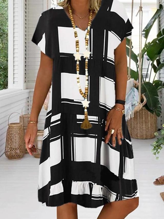 Women's Plus Size Sundress Dress - Short Sleeve Geometric Print Summer V Neck Casual Vacation 2020 Black Red Royal Blue S M L XL XXL XXXL XXXXL XXXXXL