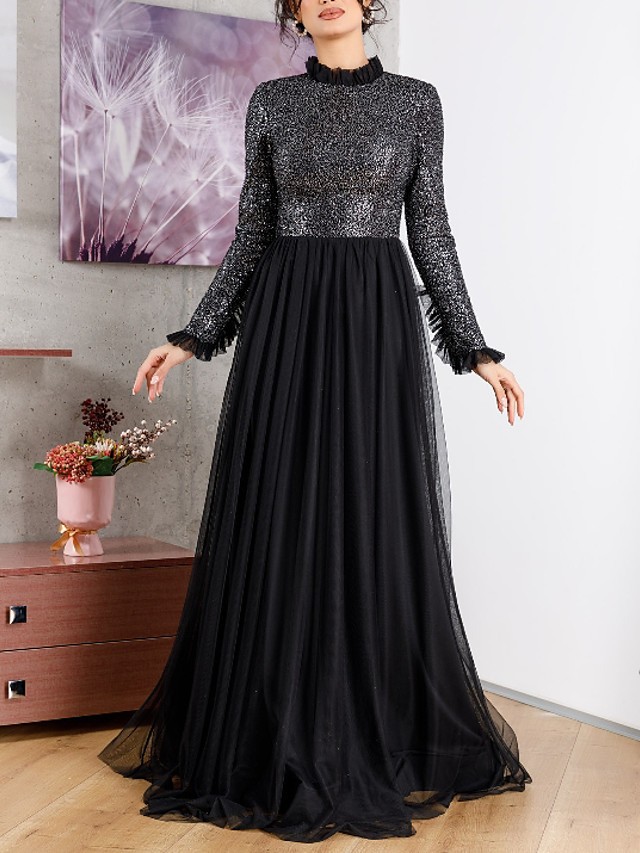 A-Line Sparkle Black Wedding Guest Formal Evening Dress High Neck Long Sleeve Sweep / Brush Train Chiffon with Pleats Sequin 2020