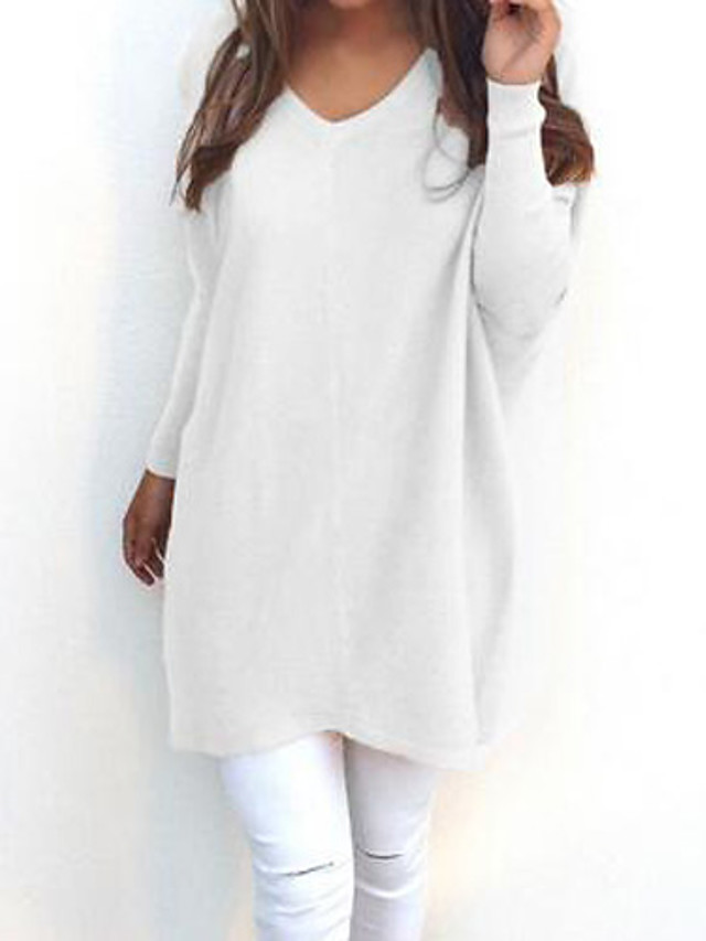 Women's Daily Solid Colored Long Sleeve Loose Long Pullover Sweater Jumper, V Neck Fall / Winter Black / White / Yellow S / M / L/StayCation