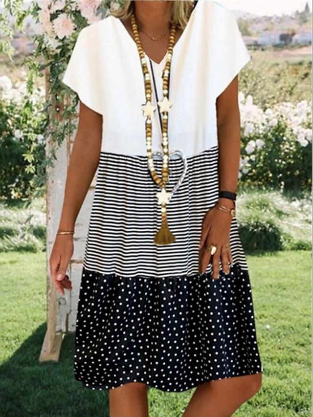 Women's Plus Size Knee Length Dress - Short Sleeve Polka Dot Striped Print Summer V Neck Casual Boho 2020 Black Red Yellow S M L XL XXL XXXL XXXXL XXXXXL