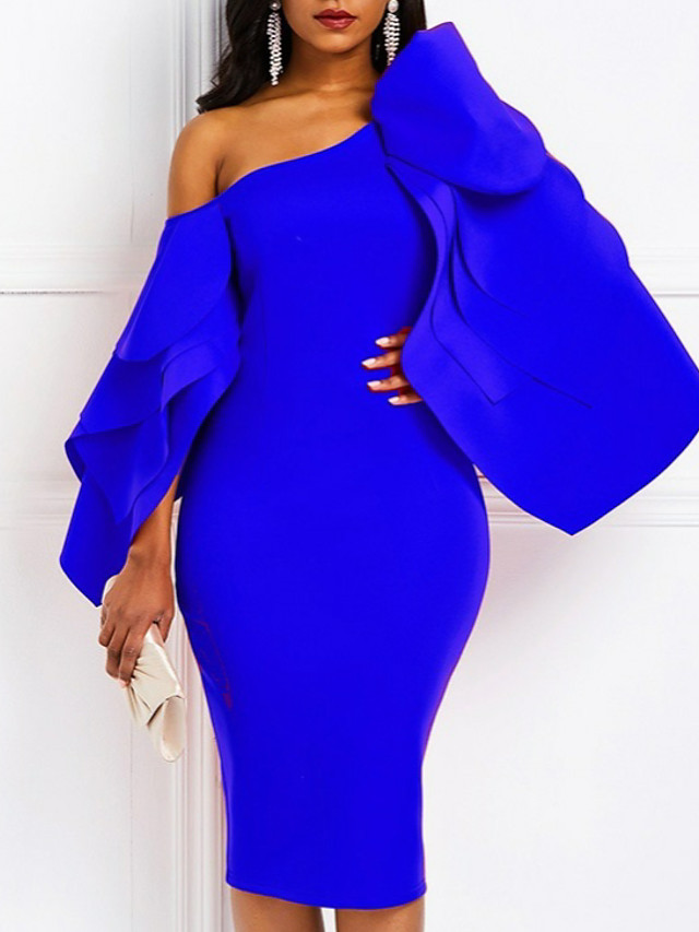 Sheath / Column Sexy Blue Cocktail Party Formal Evening Dress One Shoulder Long Sleeve Knee Length Satin with Draping 2020