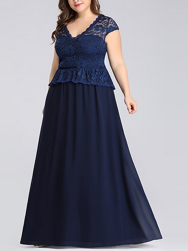 A-Line V Neck Floor Length Polyester Bridesmaid Dress with Lace