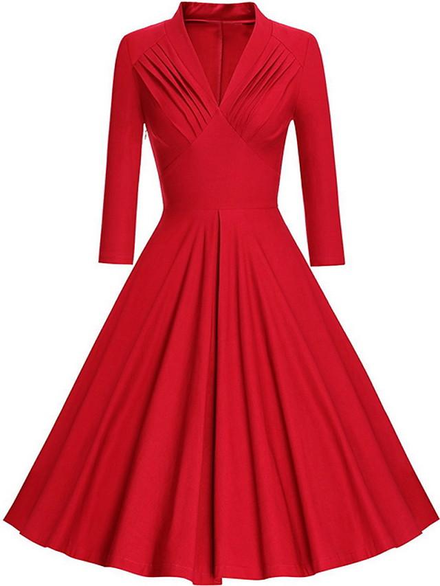 Women's Swing Dress Midi Dress - 3/4 Length Sleeve Solid Colored Spring & Summer Deep V 1950s 2020 Black Blue Red S M L XL XXL