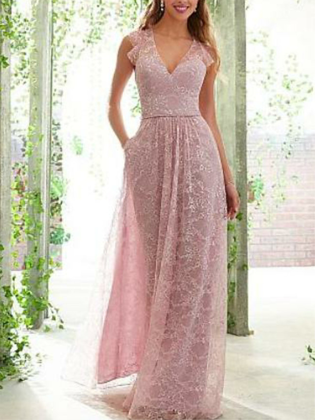 A-Line Plunging Neck Floor Length Lace / Satin Bridesmaid Dress with Ruching