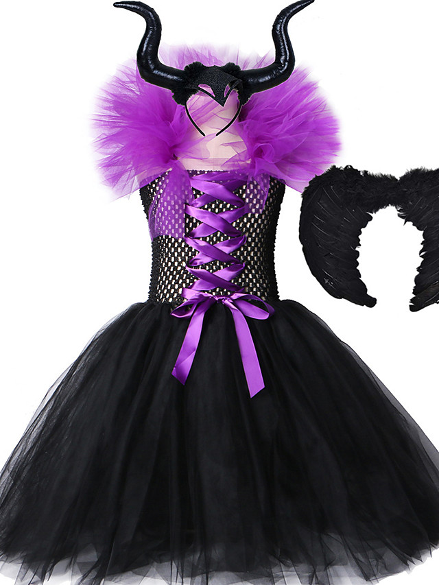 Maleficent Black Gown Tutu Dress with Deluxe Horns and Wings Girls Villain Fancy Halloween Cosplay Witch Dresses