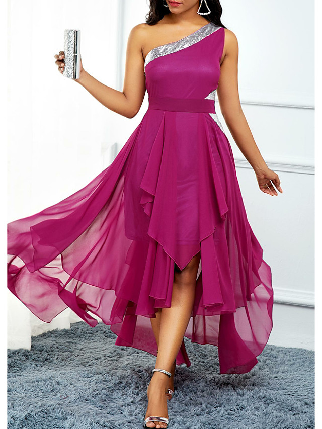 A-Line Open Back Holiday Cocktail Party Dress One Shoulder Sleeveless Asymmetrical Chiffon with Pleats Sequin 2020