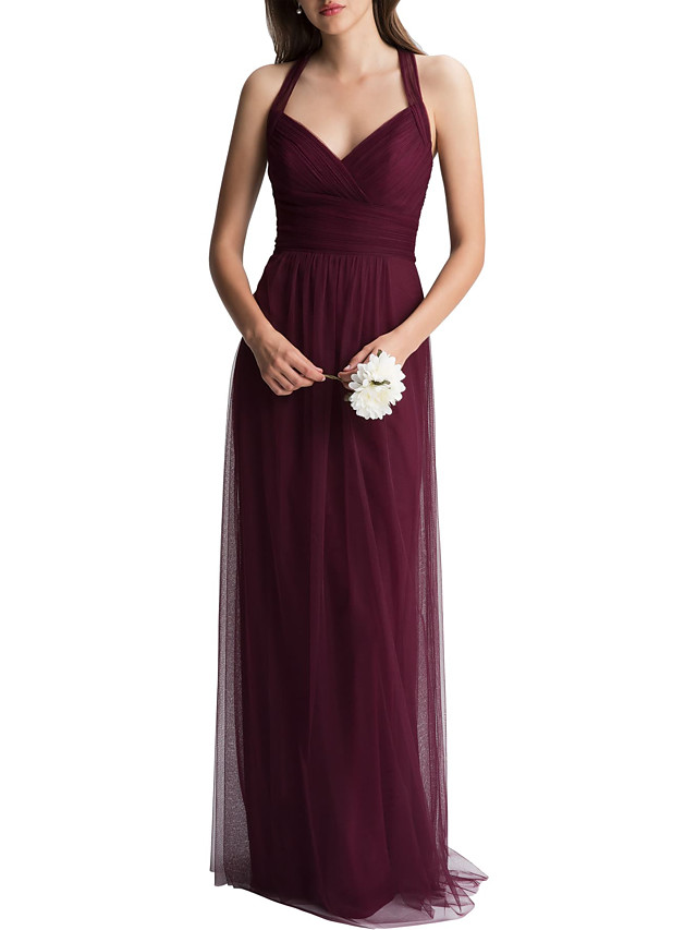 A-Line Halter Neck Floor Length Tulle Bridesmaid Dress with Ruching
