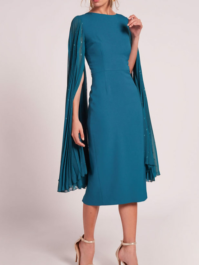 Sheath / Column Elegant Blue Wedding Guest Cocktail Party Dress Jewel Neck Sleeveless Tea Length Chiffon with Sequin Draping 2020