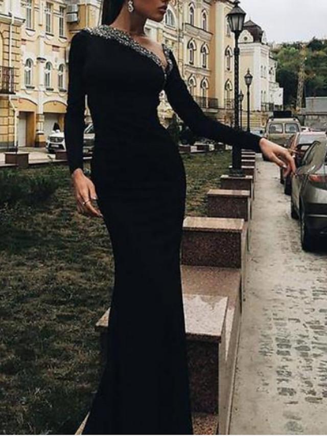 Sheath / Column Sparkle Black Wedding Guest Formal Evening Dress V Neck Long Sleeve Floor Length Stretch Satin with Sequin 2020