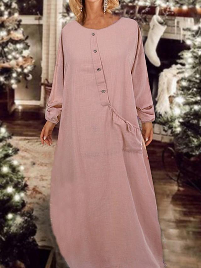 Per donna Maxi Tubino Vestito - Manica lunga Tinta unita Largo Rosa Blu marino L XL XXL XXXL