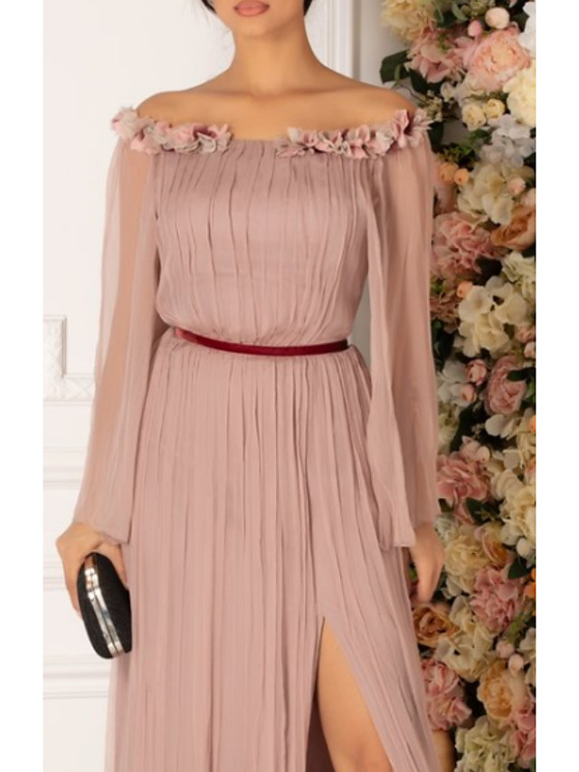 A-Line Elegant Prom Dress Off Shoulder Long Sleeve Floor Length Chiffon with Pleats 2020