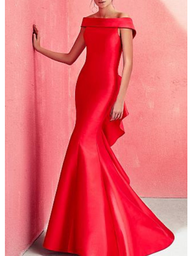 Mermaid / Trumpet Beautiful Back Red Engagement Formal Evening Dress Off Shoulder Short Sleeve Floor Length Satin with Ruffles Draping 2020