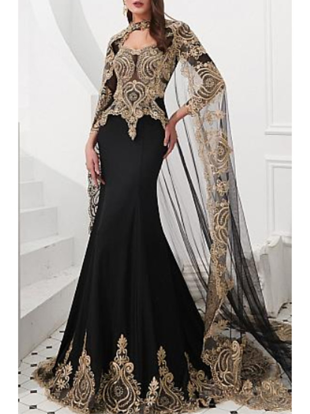 Mermaid / Trumpet Sparkle Black Engagement Formal Evening Dress High Neck Long Sleeve Court Train Satin Tulle with Appliques 2020