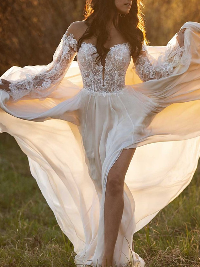 A-Line Wedding Dresses Off Shoulder Court Train Lace Satin Long Sleeve with Lace Insert 2020