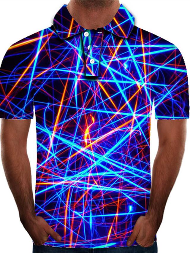 Men's Golf Shirt Graphic 3D Plus Size Print Short Sleeve Daily Slim Tops Streetwear Exaggerated Shirt Collar Rainbow