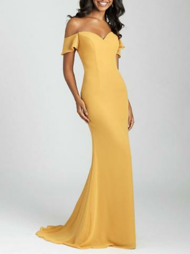 Mermaid / Trumpet Off Shoulder Sweep / Brush Train Satin Bridesmaid Dress with
