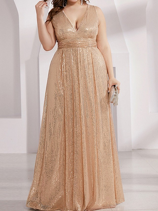 A-Line Plunging Neck Floor Length Polyester Bridesmaid Dress with Sequin