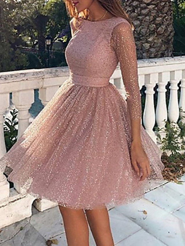 Women's Swing Dress Short Mini Dress Blushing Pink Long Sleeve Solid Colored Backless Glitter Clothing Fall Spring Round Neck Party Hot Sexy Going out 2021 S M L XL XXL