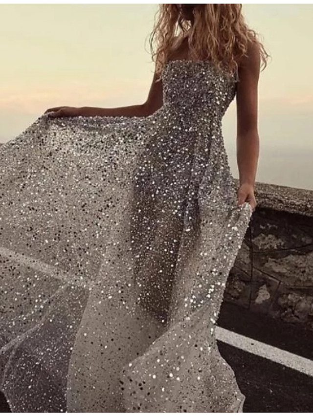 A-Line Sparkle & Shine Prom Dress Strapless Sleeveless Floor Length Tulle Sequined with Pleats Sequin 2020