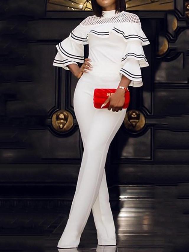 Jumpsuits Elegant Formal Evening Dress High Neck 3/4 Length Sleeve Floor Length Satin with Draping Cascading Ruffles 2020