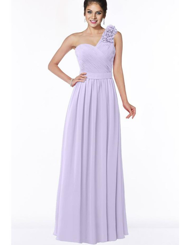 A-Line One Shoulder Floor Length Chiffon Bridesmaid Dress with Appliques / Ruching